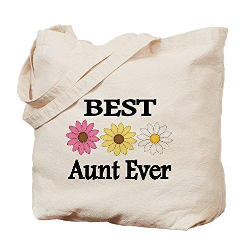 Tante Cute Frauen T-shirt (CafePress-Beste Tante je, mit Blumen-Leinwand Natur Tasche, Reinigungstuch Einkaufstasche, canvas, khaki, S)
