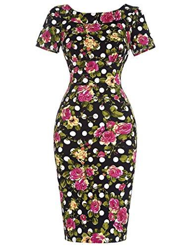 1950er Style Vintage Kleid Elegant Etuikleid Knielang Festliche Kleider Stil 1:Blumen