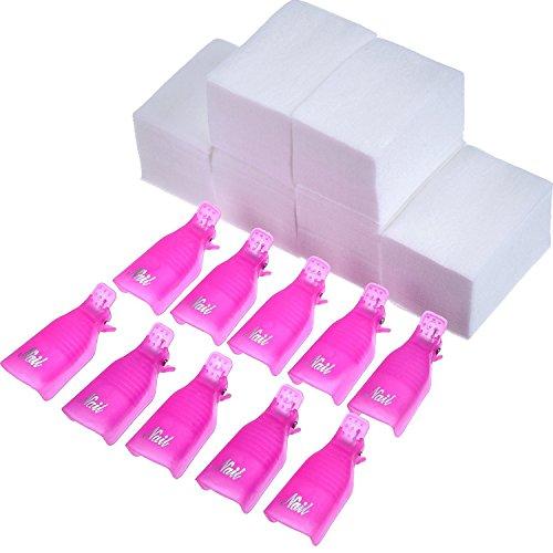 Nail Cap Clip UV Gel dello Smalto Involucro 10 Pezzi con 420 Pezzi Tamponi di Cotone di Pulire Nail (Rosa Rosso)
