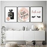 qiaoaoa Bouteille de parfum nordique, mode murale, aquarelle, affiches et gravures, photo décorative pour cils pour chambre à coucher décor-50x70cmx3 sans cadre