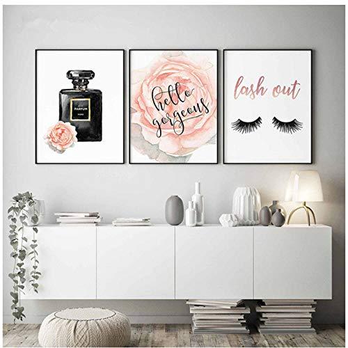 qiaoaoa Bouteille de parfum nordique, mode murale, aquarelle, affiches et gravures, photo décorative pour cils pour chambre à coucher décor-50x70cmx3 sans cad