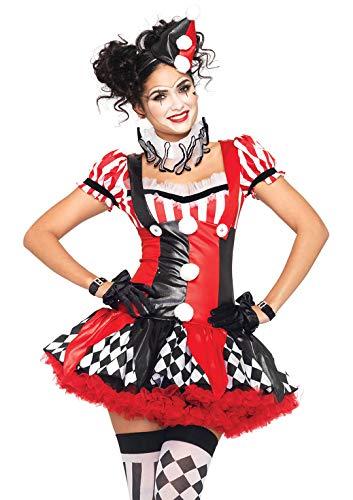 Kleid Leg Kostüm Avenue - LEG AVENUE 83929 - Harlequin Clown Damen kostüm, Größe M (Schwarz Rot)