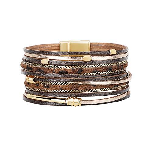 Emibele Mehrschichtiges Lederarmband, Böhmische Armbänder Single Loop Wickelarmband mit Magnetverschluss Leopard Armschmuck für Damen - Braun