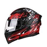 Männer Motorrad Helm Erwachsene Anti-Fog Bluetooth Headset Sicherheit Helm,Red-XXXL=64-65cm