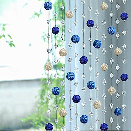 Tianya Sepak Takraw Kristall Perlgardine Einen Meter Ohne Anhänger Blau Und Weiß Sepak Takraw Perlen Kristall Glasscurtain Wohnzimmer Schlafzimmer Fenster Tür Dekor