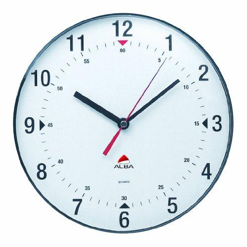Alba Horclas, Reloj de Cuarzo Clásico de Pared, Plástico, Negro y Bl