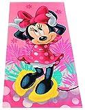 Disney Minnie Maus Strandtuch Handtuch Verschiedene Designs 70 x 140 cm, für Kinder Jungen und Mädchen, 100% Baumwolle (pink mit Blumen)