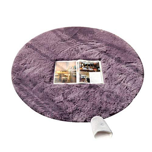 WYNZYDT lila runder Teppich, couchtisch mat Schlafzimmer hängenden Korb Carpet Computer Stuhl Kissen runde Carpet schminktisch Carpet (größe : 1m in Diameter)