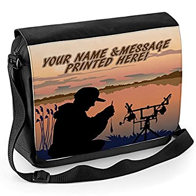 Personalised Carp Fishing At Dawn St156 School Shoulder Work Messenger College Bag Gift ** Add a Name or Text **