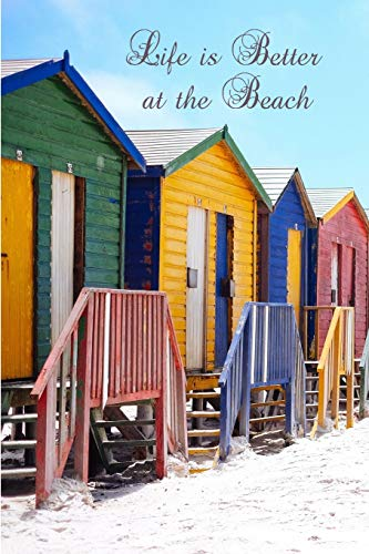e Beach: Beach Hut Seaside/ Ocean Notebook (Composition Book Journal Diary), Medium College-Ruled Notebook, 120-page, Lined, 6 x 9 in (15.2 x 22.9 cm) ()