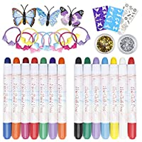 32 Pack Hair Face Paint Makeup Set, Washable Facial Paint Pens and Hair Chalk Pens Ideal Gift for Kids Girls Festival Party Cosmetic