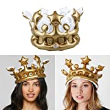 Kicode Birthday Crown Supplies Tools PVC Gold Creative Kids Inflatable Birthday Cosplay 13*13*7'
