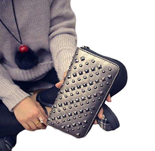 Preisvergleich Produktbild Tonsee Neue Mode Lady Frauen PU Leder Clutch Portemonnaie lange Karte Punk Rivet Brieftaschen (grau)
