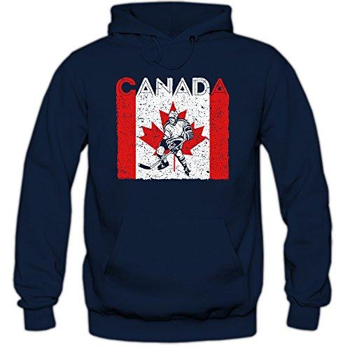 Canada Eishockey #4 Premium Hoodie   Kanada   Flagge   Eis-Hockey-Spieler   Herren   Kapuzenpullover, Farbe:Dunkelblau;Größe:S (Eishockey-kanada-bekleidung)
