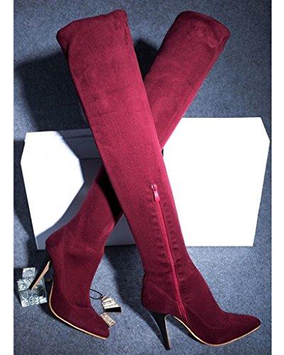 Minetom Donna Inverno Stivali Sopra Il Ginocchio Stiletto Scarpe Alti Tacco Alto Scamosciato Stivali Rosso