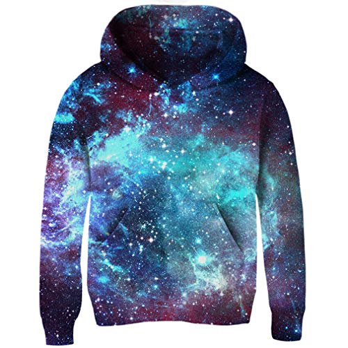 RAISEVERN Kinder - Winter - Warmer Pullover Jungen Mädchen Comfy Pullover 3D Full Printed Sweatshirts Lange Sleeve Tops - Raum - Galaxie XL Sleeve Hoodie