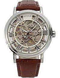 Sewor C847 - Reloj mecánico para hombre con correa de cuero