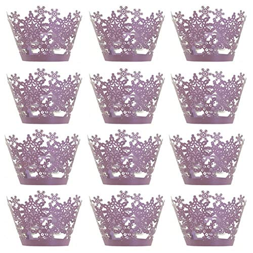 Newin Star 12 pcs Christmas Cupcake Wrappers for Elegant Weddings & Celebrations, Graduations, Anniversary, Birthday & Gatsby Parties, Bridal Showers, Adjustable Cup Cake Purple