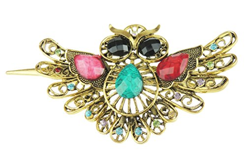 Concord Hat (Damen braunen Gold Tone Metall mit Kristall Concord Schnabel Haar Clip Big Owl Bird)
