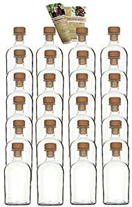 24 leere glasflaschen apotheker 250 ml incl holzgriffkorken zum selbst abf llen lik rflasche. Black Bedroom Furniture Sets. Home Design Ideas