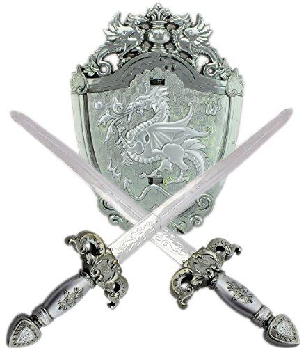 Für Kinder Avatar Kostüm (GYD Schwerter + Schild Kostüm Ritter Spielzeugschwert Titanium Kreuzzüge Set 45cm Spiel und Fasching)