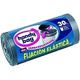 Handy Bag Bolsas para Basura con Autocierre, Fijación Elástica Ultra Resistente, 30 L - 15 unidades