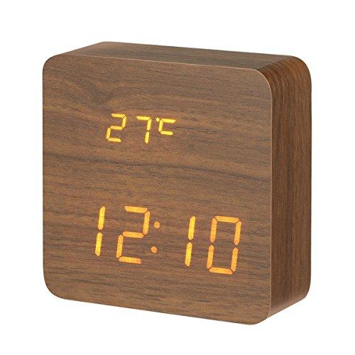 DIGOO Holz LED Digital Wecker mit 3 Gruppen Alarm Einstellung, Temperatur Zeit und Datum Display, 3 Einstellbare Helligkeit, Sprachsteuerung, 2 Modi Display
