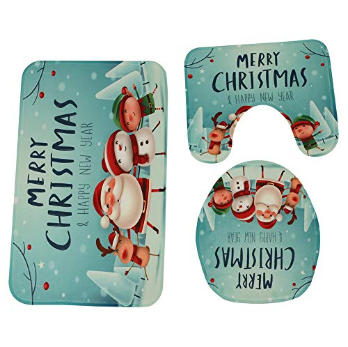 Badteppich,Transwen 3PCS Weihnachten Bad Rutschfeste Sockel Teppich + Deckel WC Cover + Badematte Set,sehr weich,schnelltrocknend,waschbar (C) (1200, Teppich)