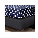 HnL Stars Renforce Spannbettlaken in navy 100x200 cm