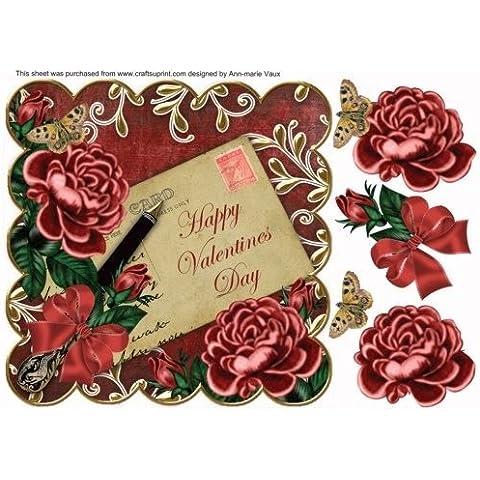 Rosso scuro rosa Happy Valentines Day cartolina
