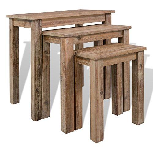 Festnight 3 pcs Tables Gigognes Table d'appoint en Bois d'acacia Massif