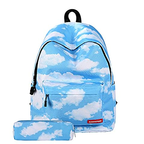 Shoulder Bag for School, DMbaby Star Clouds Striped High School Backpack for Teens Girls Wide Canvas Laptop Bag Vintage Old Casual Small Crossbody Bags Best Youth University Leisure Blue DS09