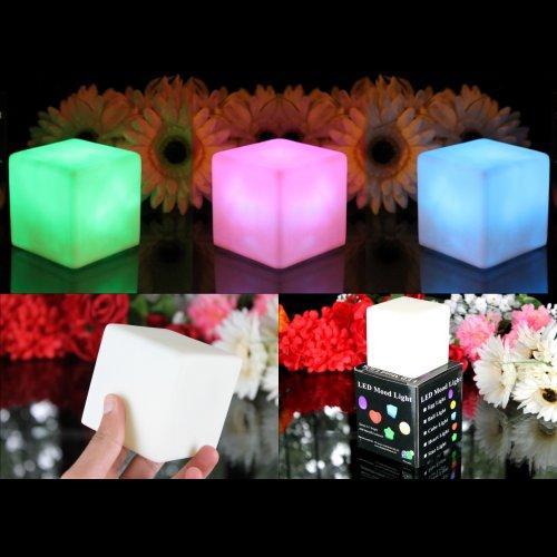 3er Set LED Würfel Leuchtwürfel Klein 7cm - Stimmungslichter LED Lampen mit Farbwechsel Nachtlichter Deko von PK Green