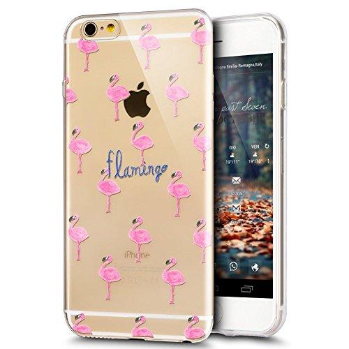 Coque iPhone 6, iPhone 6S Coque en Silicone, SainCat Ultra Slim Transparent Silicone Case Cover pour iPhone 6/6S, Coque Silicone 3D Flamingo Coque Anti-Scratch Soft Gel Cover Coque Caoutchouc Transpar Pink Flamingo Group