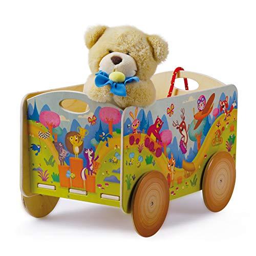 Dida - Carretto in legno trainabile porta oggetti e giochi per bambini. Decoro animali del bosco.