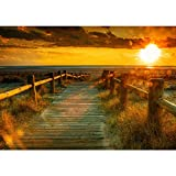 Vlies Fototapete 300x210 cm PREMIUM PLUS HiQ - OEKO-TEX Standard 100 Wand Foto Tapete Wand Bild Vliestapete - SUNSET BEACH - Sonnenaufgang Strand Meer Felsen Sunset - no. 0064