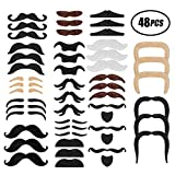 SMAtech Selbstklebende Schnurrbart 48 Stück Ankleben Klebebärte falscher Bärte Party Bart für Weihnachtsfeier Geburtstag und Partei