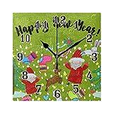 QMIN Wanduhr Happy New Year Weihnachtsbaum, quadratische Uhr, geräuschlos, kein Ticken, leise Uhr für Schlafzimmer, Wohnzimmer, Küche, Büro, Home Decor