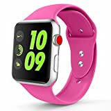 Zolion Band für Apple Watch Series 3 Bands, Weiche Silikon Ersatz Sport Armband für Apple Watch Band 38mm 2017 Serie 3 Serie 2 Serie 1 (S/M, Barbie Pink)