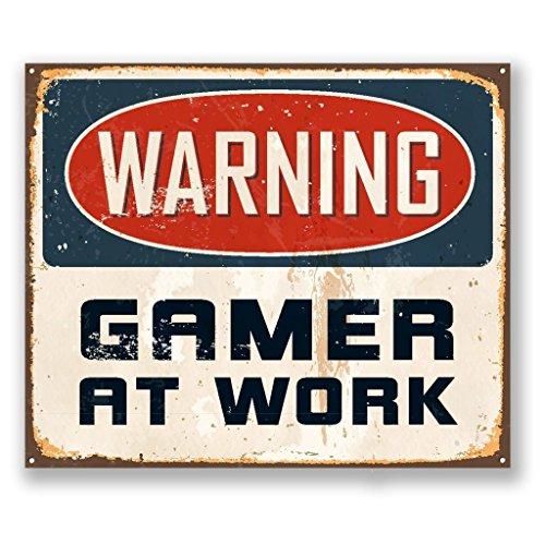 2 x 10cm/100 mm Advertencia Gamer trabajo Etiqueta