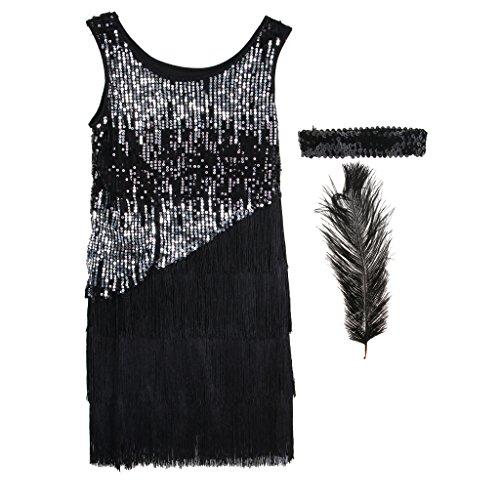 D DOLITY Retro Gatsby Kostüm Set Charleston Kostüm Kit mit Fransenkleid Feder Haarband und Feder, Schwarz - M