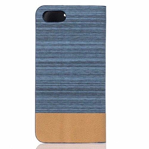 UKDANDANWEI Apple iPhone 7 Étui, de protection rabattable en toile canvas et cuir synthétique en style flip case pour Apple iPhone 7 - Gris Azur