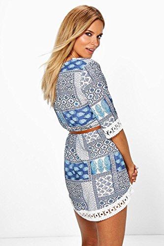 Damen Blau Brigitte Printed Lace Trim Dress With Belt Blau