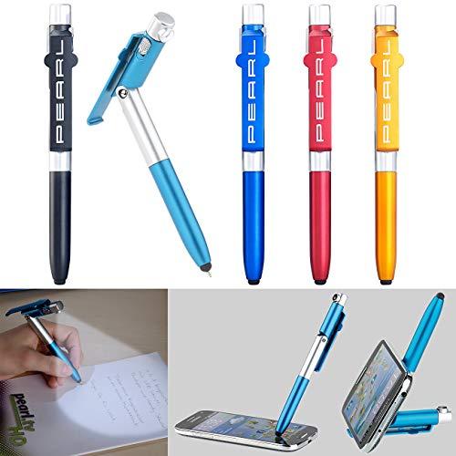 PEARL Kugelschreiber mit Licht: 4in1-Kugelschreiber mit LED-Lampe, Touchpen und Handy-Ständer, 5er-Set (Stift mit Licht)