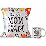 Tokenz The Best Mom In The World For Mother Beautiful Satin Cushion Cover With Compressed Filling Size 12x12 Inches And Coffee Mug 300ml Microwave Proof House Warming Gift For Mom Mother On Her Birthday Anniversary Mothers Day Special Day Home Decor
