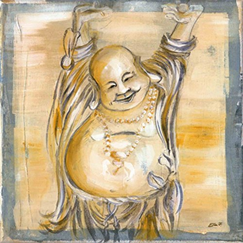 Artland Poster Kunstdruck Wand-Bild Fine-Art-Print in Galeriequalität Reproduktionen Ellen F. Fröhlicher Buddha II Fantasy & Mythologie Religion Buddhismus Malerei Creme 30 x 30 x 0,1 cm A6WF