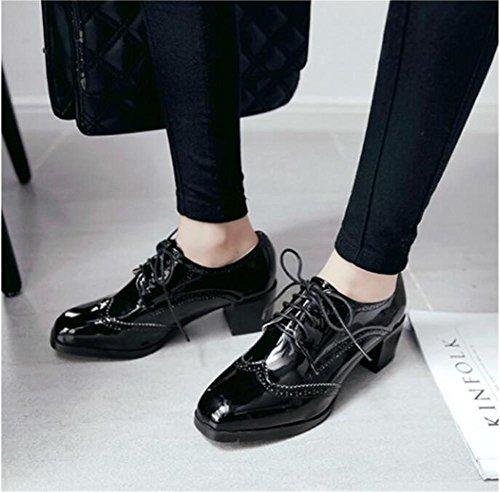 Lace Up Square Toe Große Größe Schuhe Bequeme Frauen Lack Leder Schuhe Black