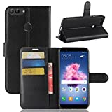 OFU® Pour Huawei P Smart Coque,Étui en Cuir PU+TPU pour Huawei P Smart Housse Coque Pochette Portefeuille de Protection Case Cas Cuir Etui,Il y a logistique des numéros de suivi(Huawei P Smart,noir)
