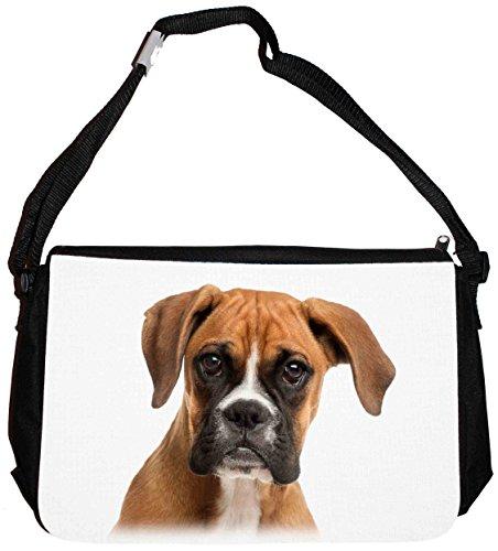 Merchandise for Fans Schultertasche - 38x28x8cm, 8,5 Liter, schwarz Motiv: Hund Deutscher Boxer - 05 -