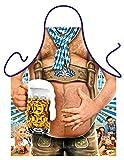 Lustige bayrische Volksfest Schürze / witzige bayrische Tracht : Bierbauch - Kochschürze schwarz + Gratis Urkunde